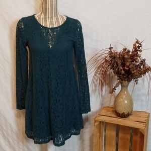 Altar'd State Teal Lacy Mini Dress w Long Sleeves